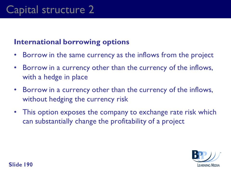 Capital structure 2 International borrowing options