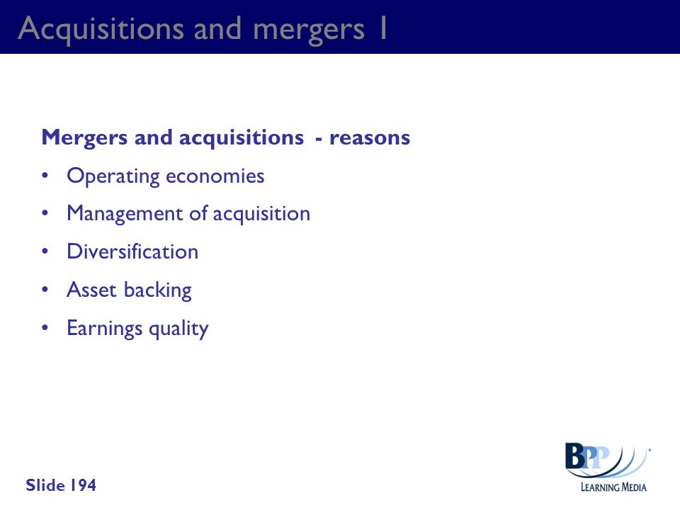 Acquisitions and mergers 1