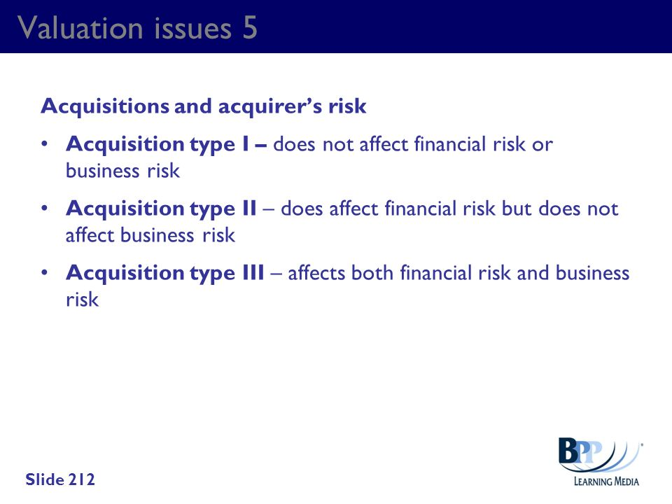 Valuation issues 5 Acquisitions and acquirer's risk