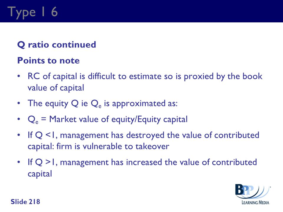 Type 1 6 Q ratio continued Points to note