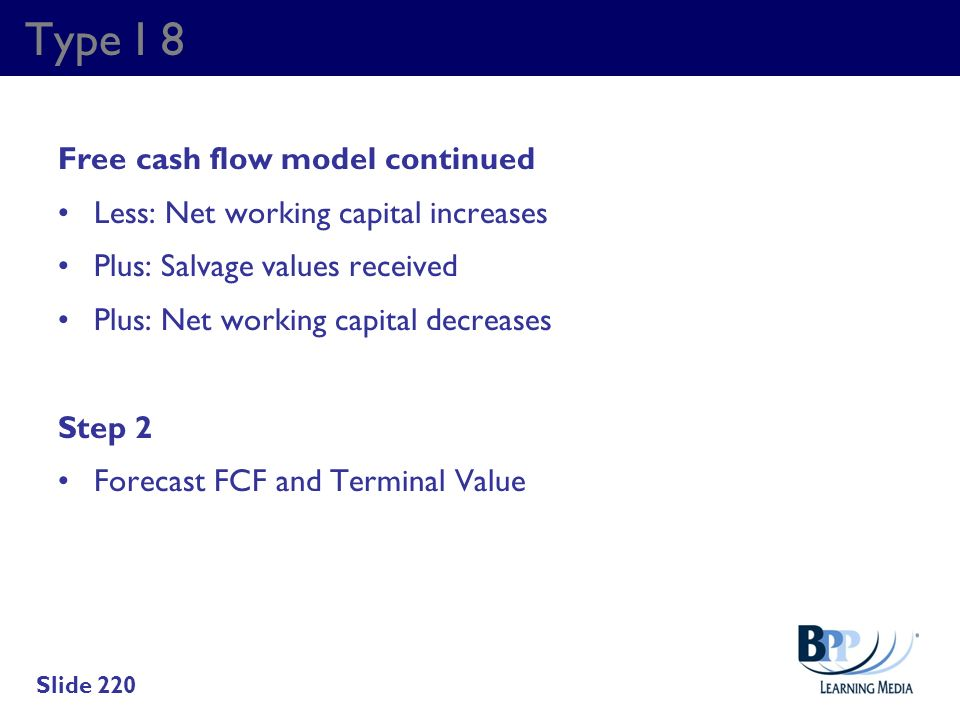 Type I 8 Free cash flow model continued