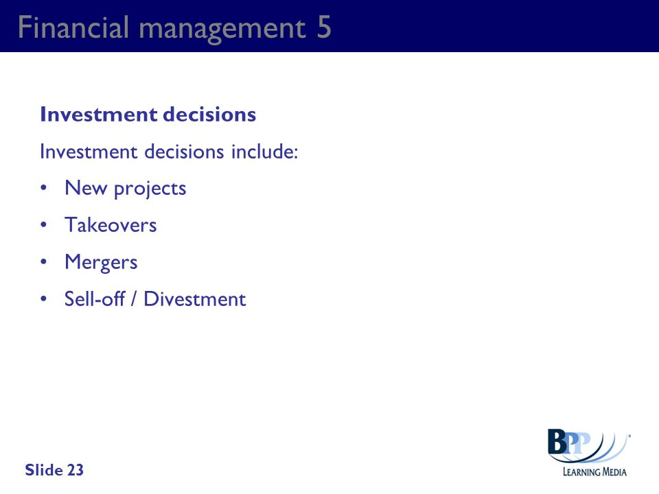 Financial management 5 Investment decisions