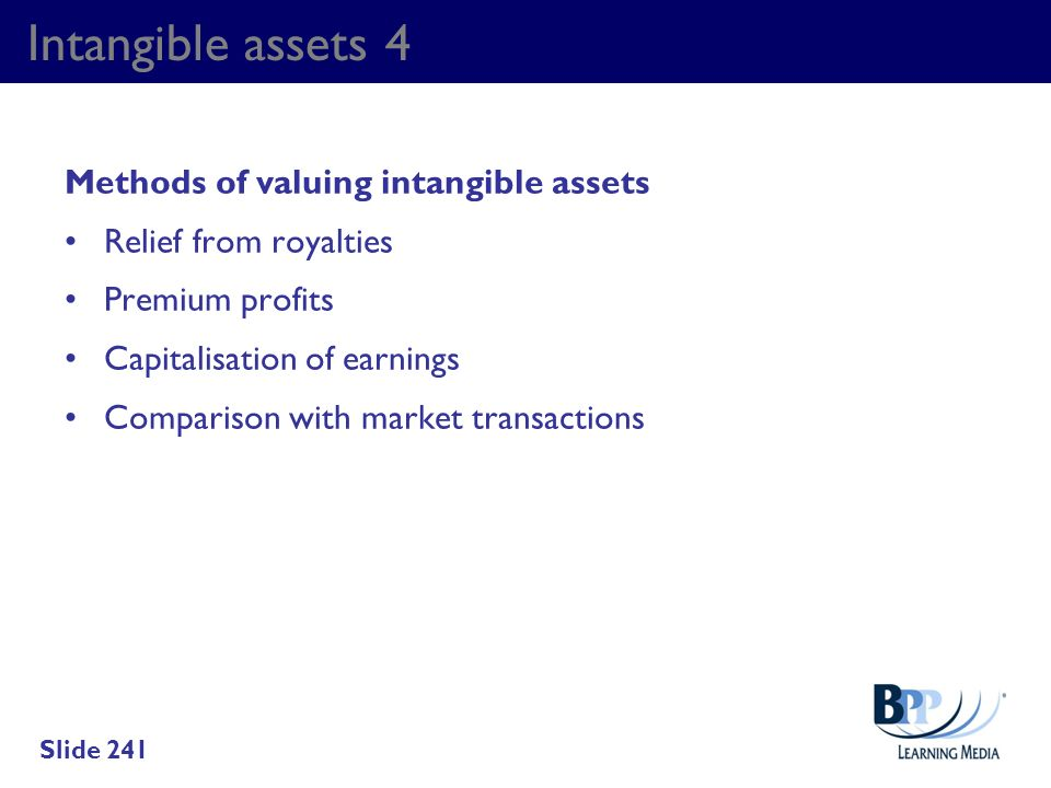 Intangible assets 4 Methods of valuing intangible assets