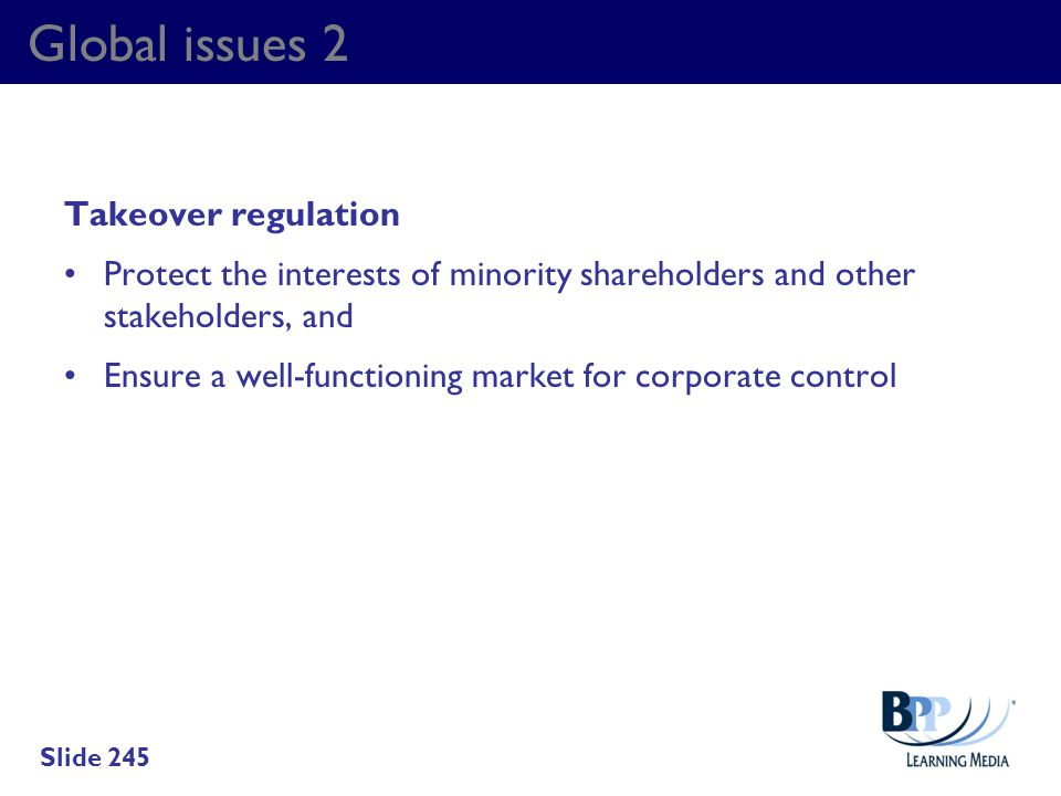 Global issues 2 Takeover regulation