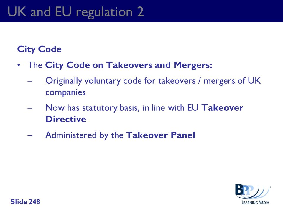 UK and EU regulation 2 City Code