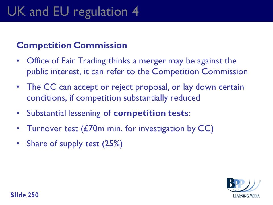 UK and EU regulation 4 Competition Commission