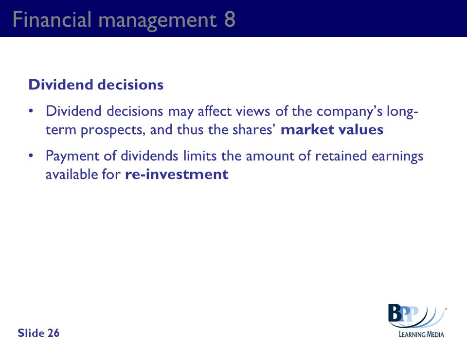 Financial management 8 Dividend decisions