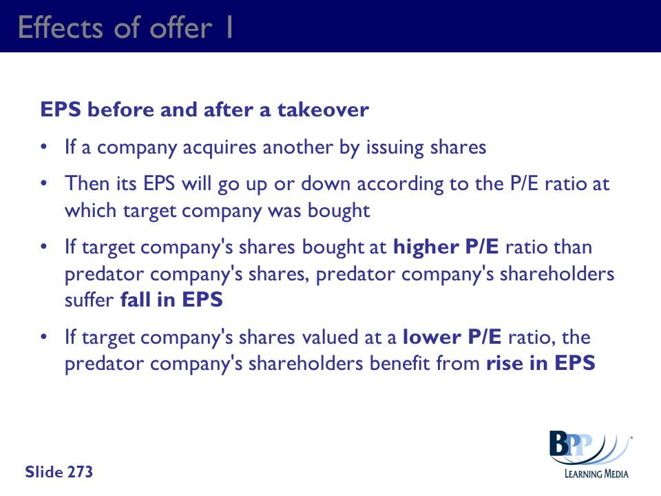 Effects of offer 1 EPS before and after a takeover