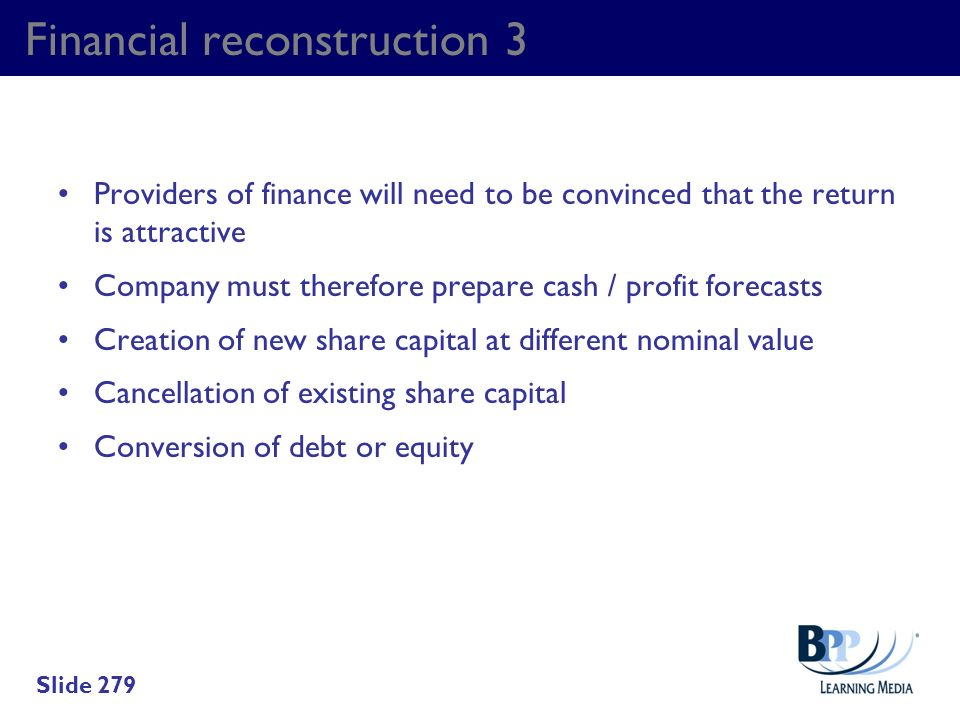 Financial reconstruction 3