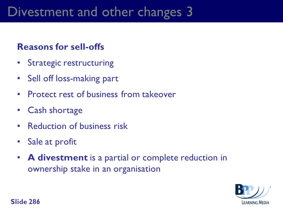 Divestment and other changes 3