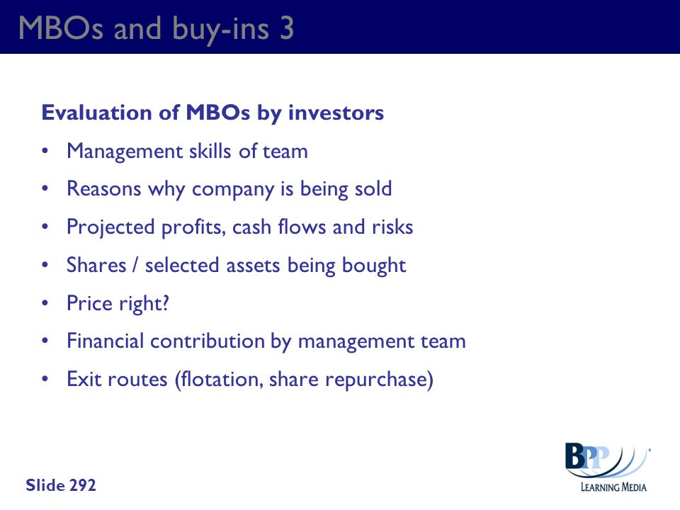 MBOs and buy-ins 3 Evaluation of MBOs by investors