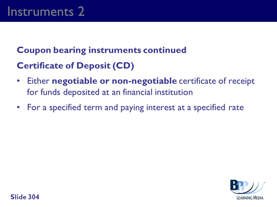 Instruments 2 Coupon bearing instruments continued