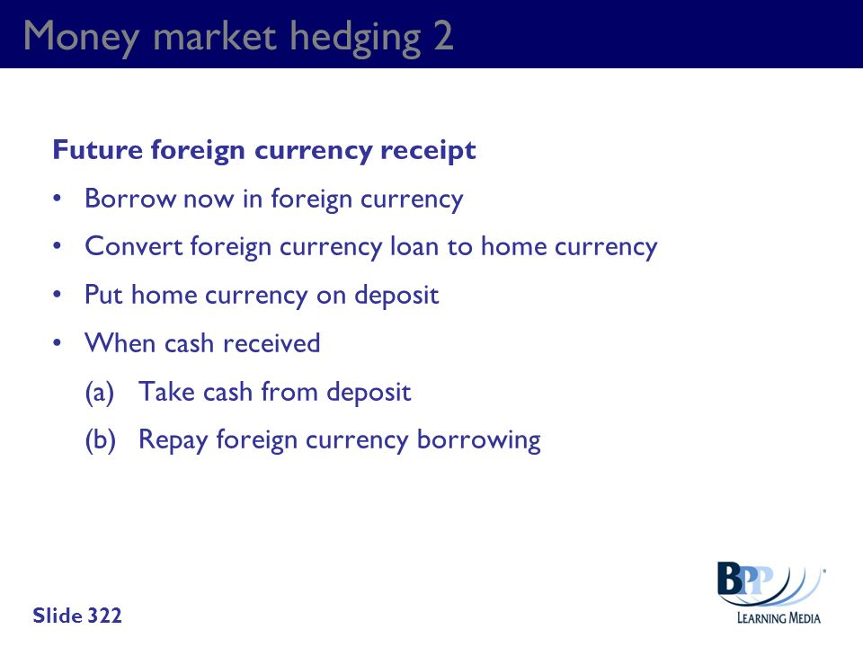 Money market hedging 2 Future foreign currency receipt