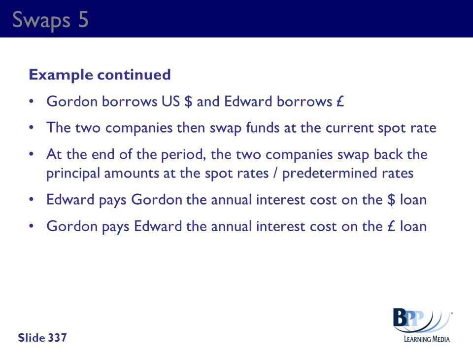 Swaps 5 Example continued Gordon borrows US $ and Edward borrows £
