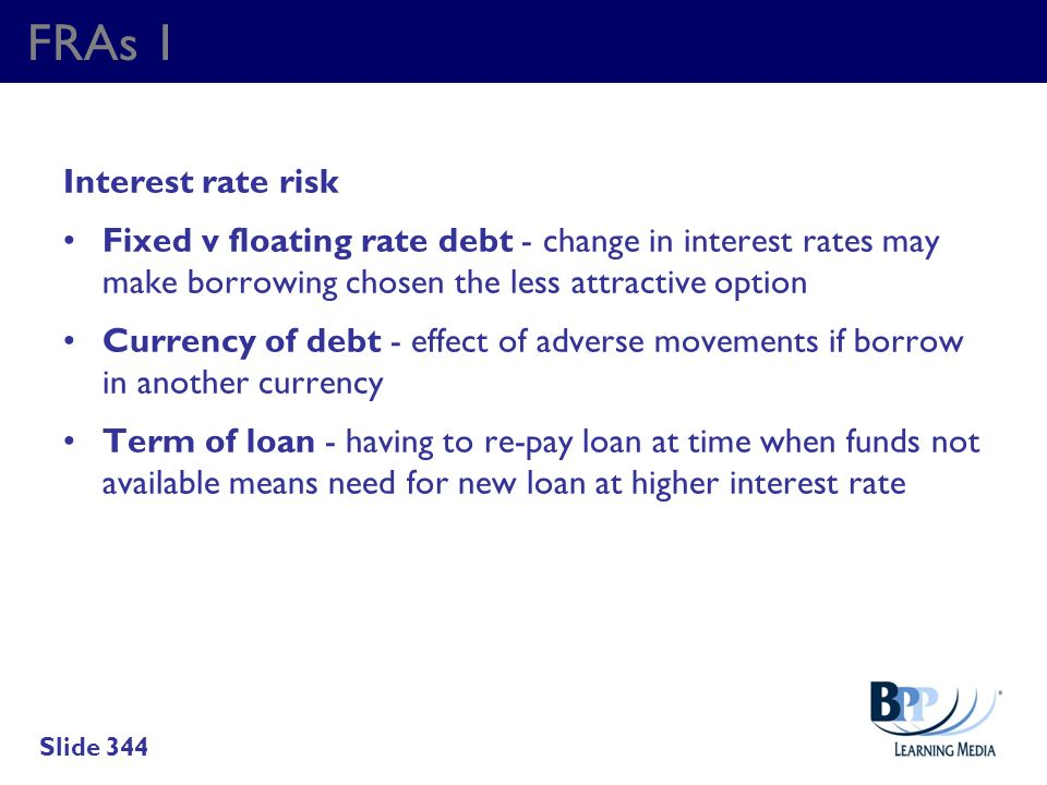 FRAs 1 Interest rate risk