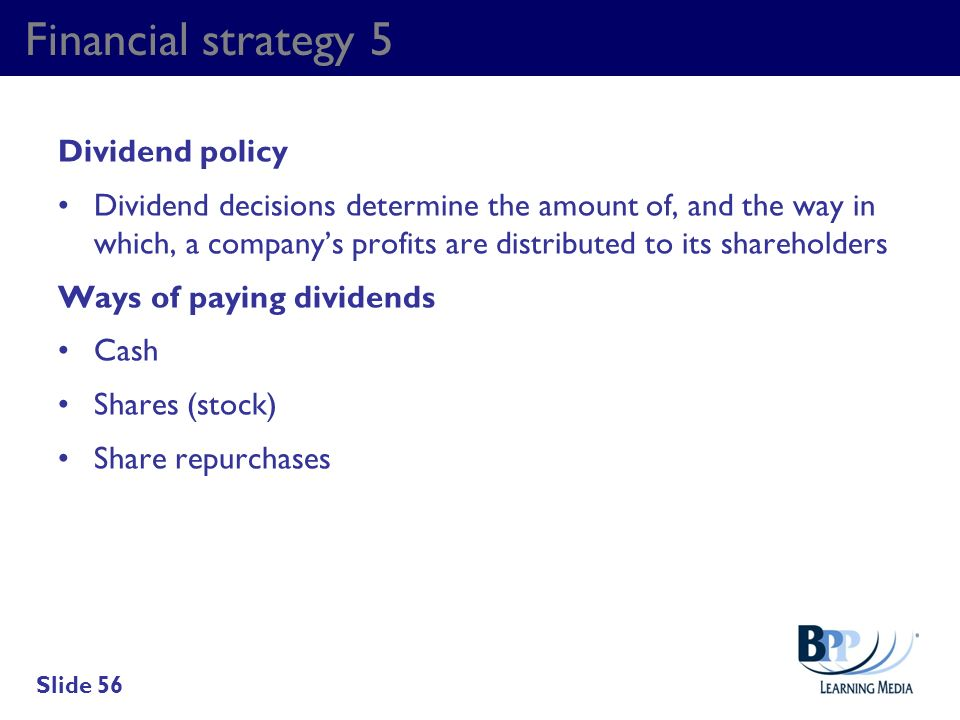 Financial strategy 5 Dividend policy