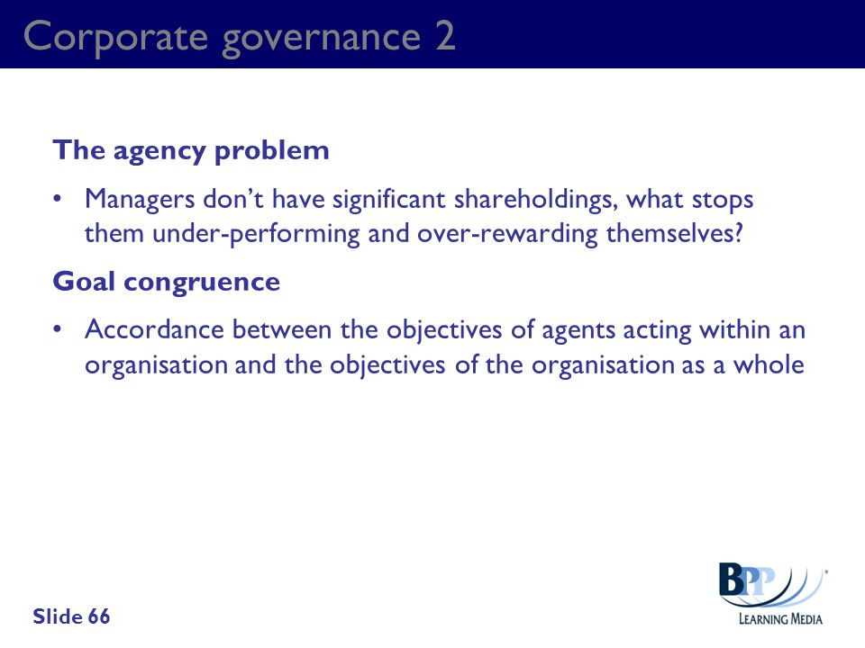 Corporate governance 2 The agency problem
