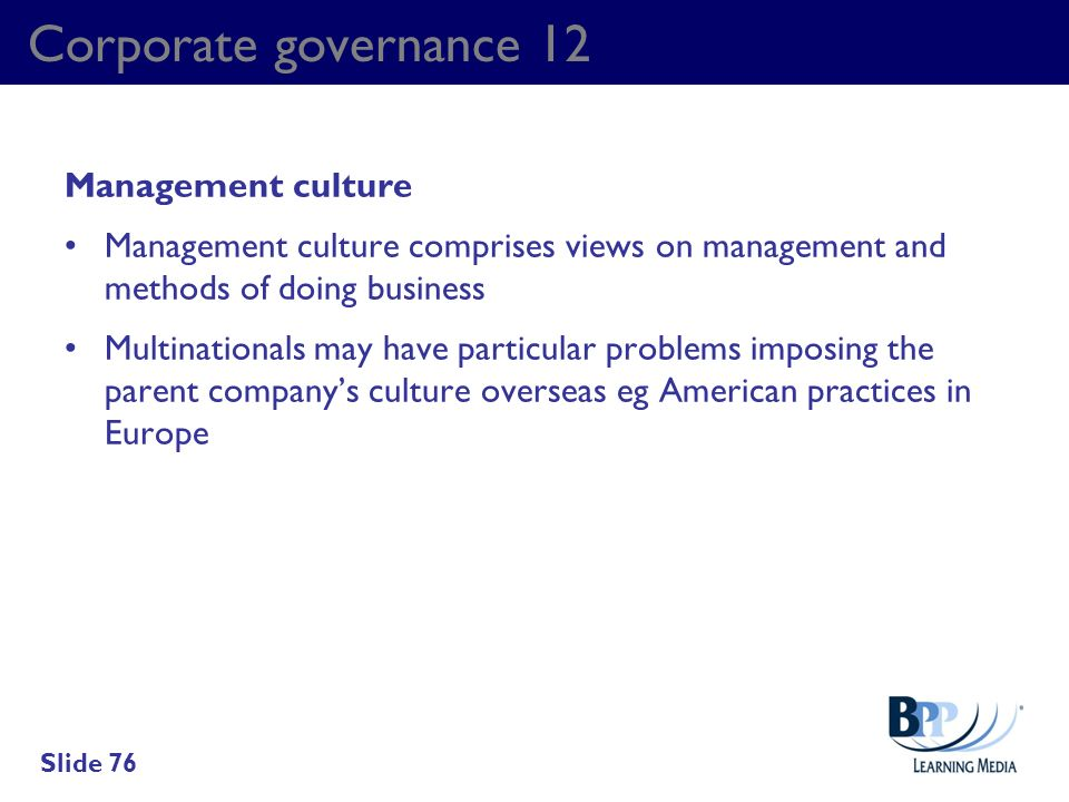 Corporate governance 12 Management culture