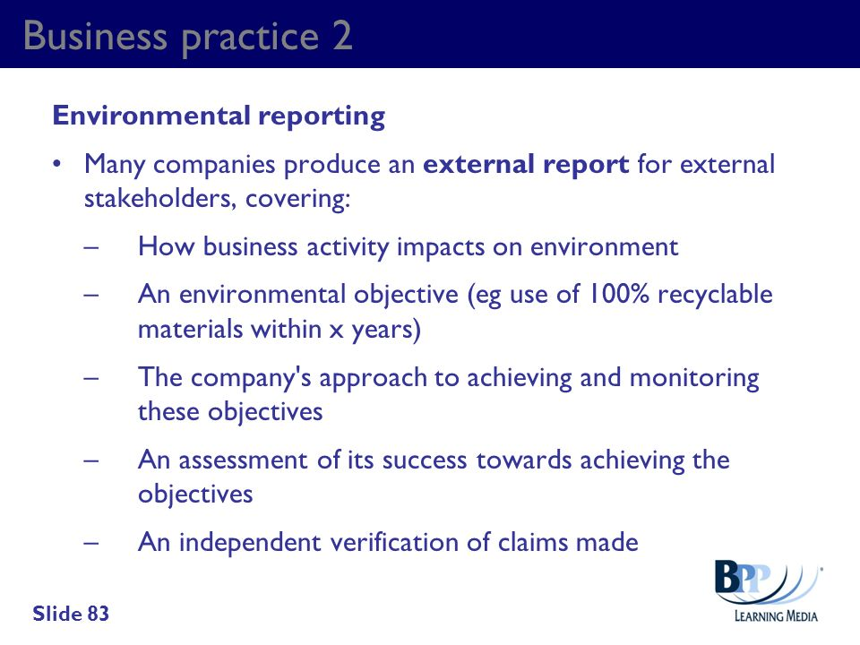 Business practice 2 Environmental reporting