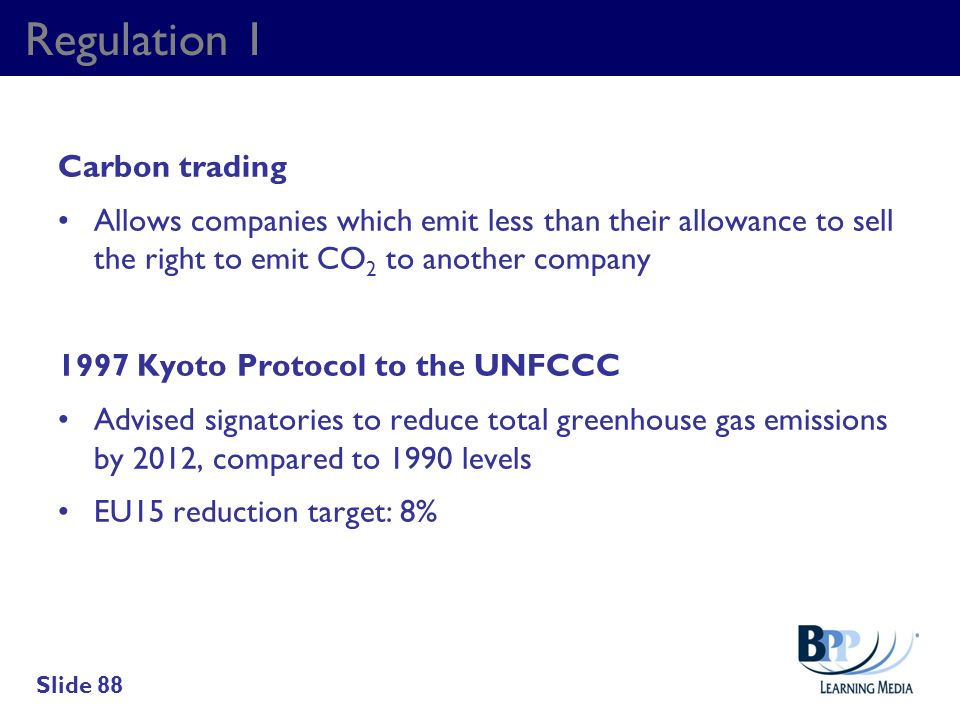 Regulation 1 Carbon trading