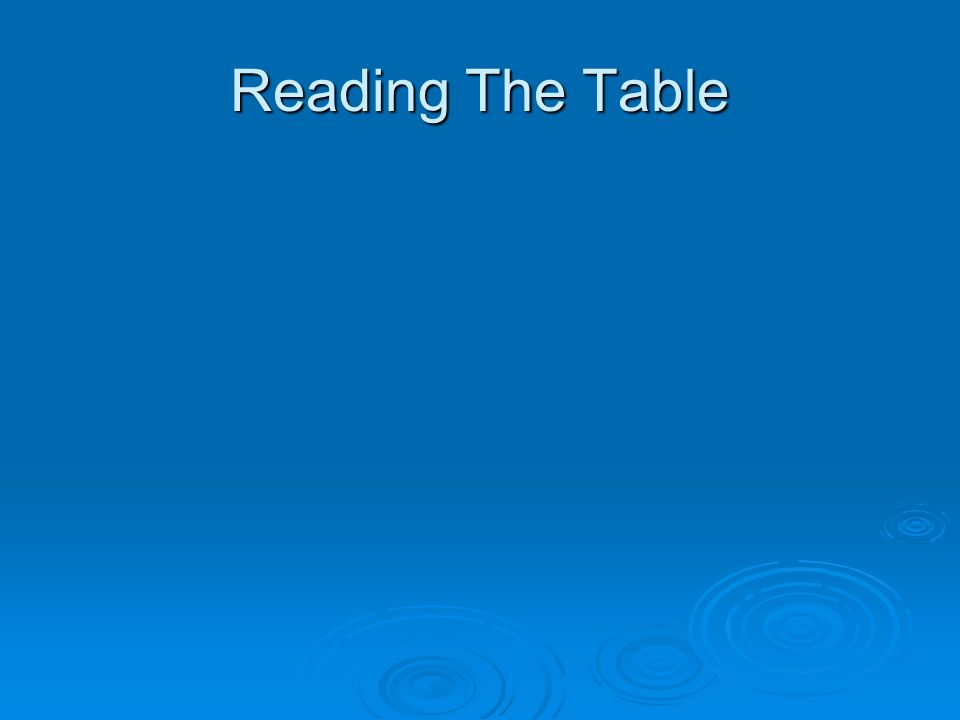 Reading The Table