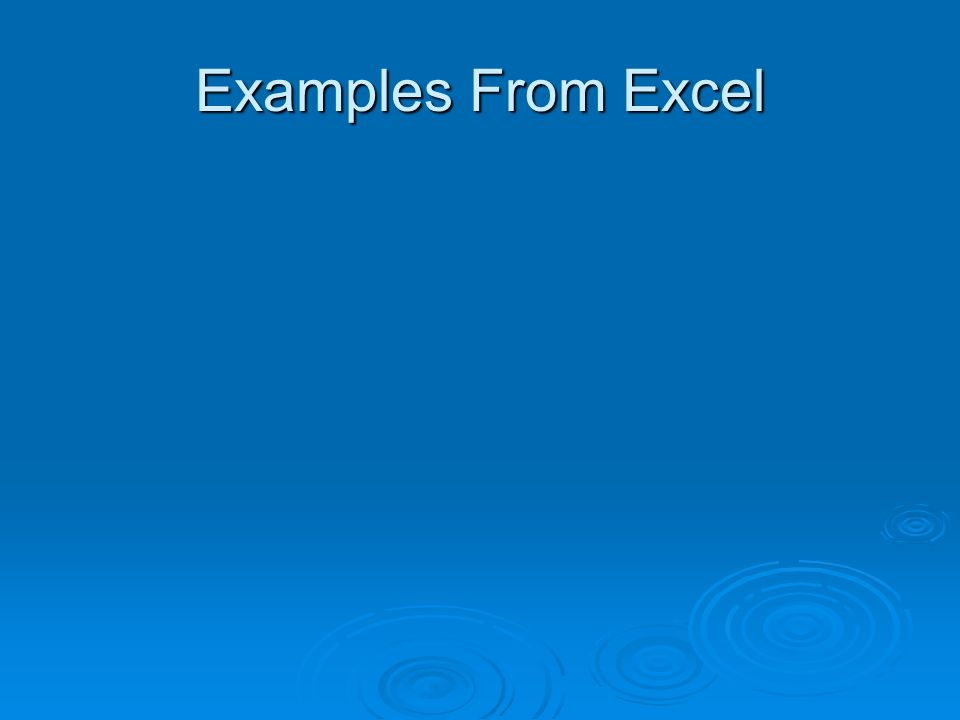 Examples From Excel