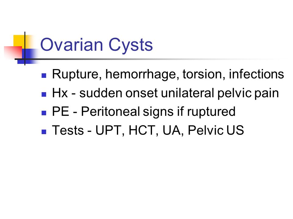 Ovarian Cysts Rupture, hemorrhage, torsion, infections
