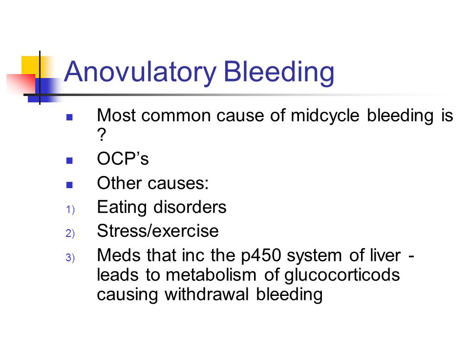 Anovulatory Bleeding Most common cause of midcycle bleeding is OCP's