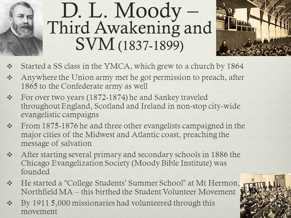 D. L. Moody – Third Awakening and SVM ( )