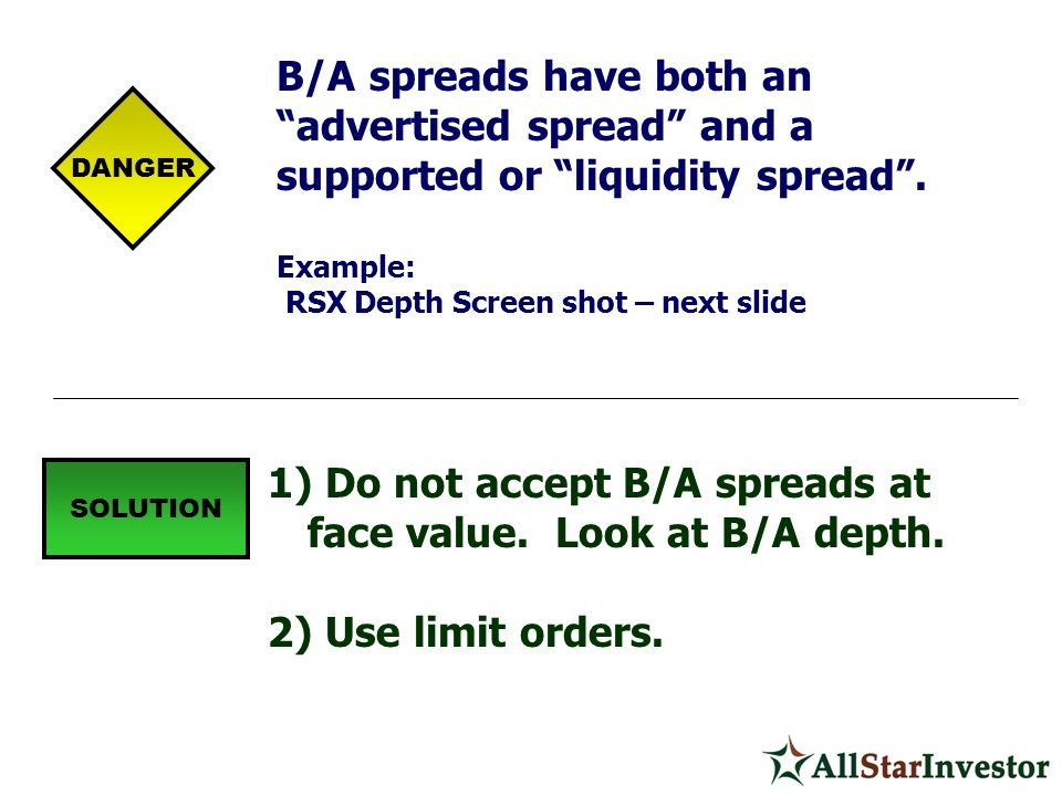 Do not accept B/A spreads at face value. Look at B/A depth.