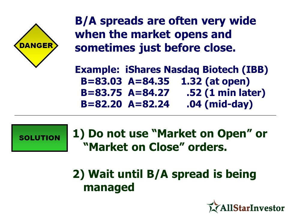 Do not use Market on Open or Market on Close orders.