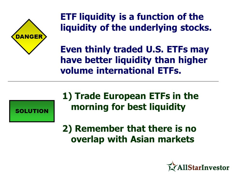 ETF liquidity is a function of the liquidity of the underlying stocks.