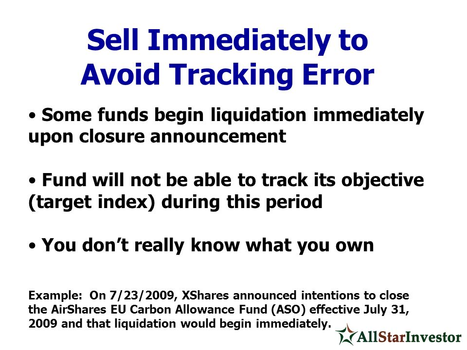 Sell Immediately to Avoid Tracking Error