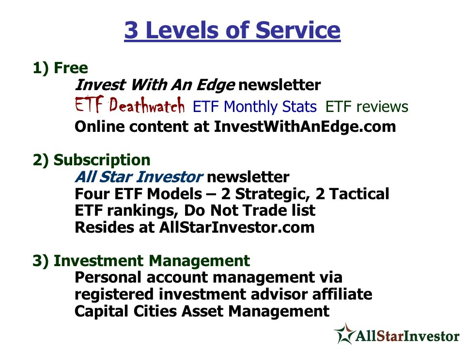 3 Levels of Service 1) Free Invest With An Edge newsletter
