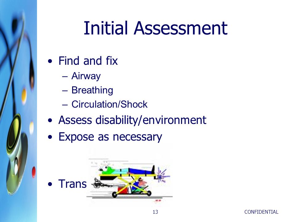 Initial Assessment Find and fix Assess disability/environment