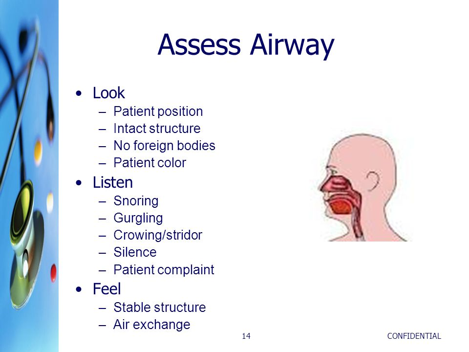Assess Airway Look Listen Feel Patient position Intact structure