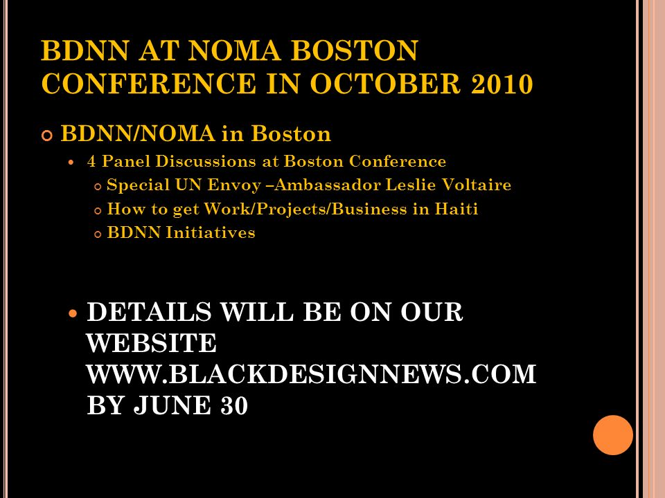 BDNN AT NOMA BOSTON CONFERENCE IN OCTOBER 2010