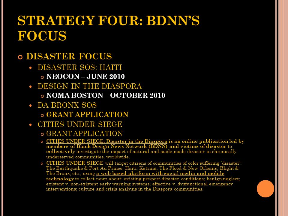 STRATEGY FOUR: BDNN'S FOCUS