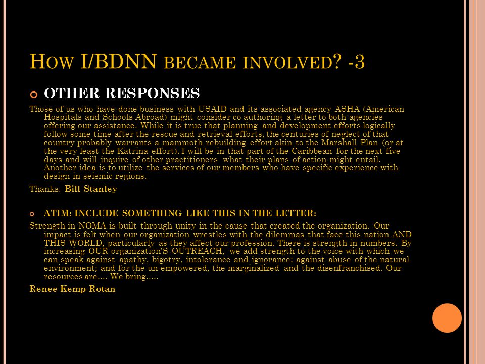 How I/BDNN became involved -3