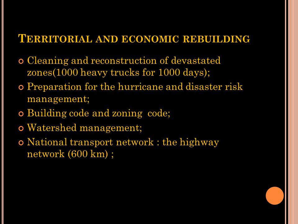 Territorial and economic rebuilding