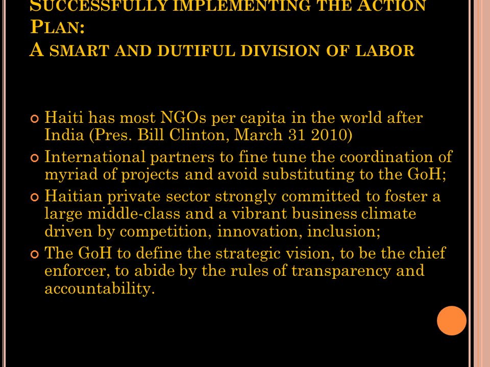 Successfully implementing the Action Plan: A smart and dutiful division of labor