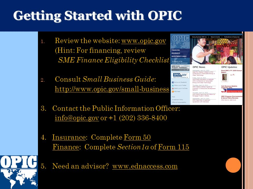 Getting Started with OPIC