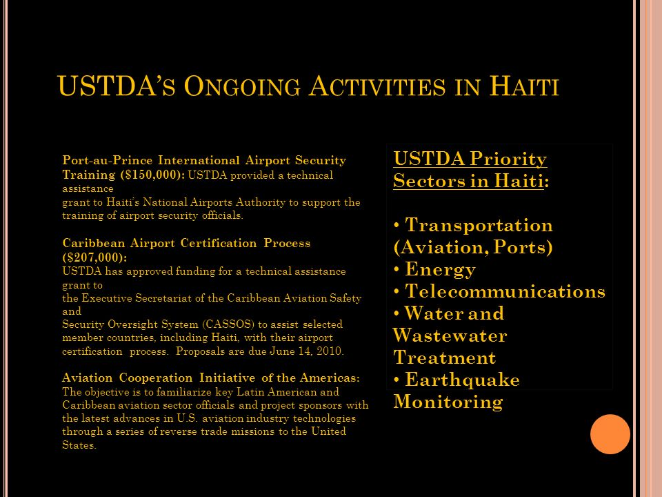 USTDA's Ongoing Activities in Haiti