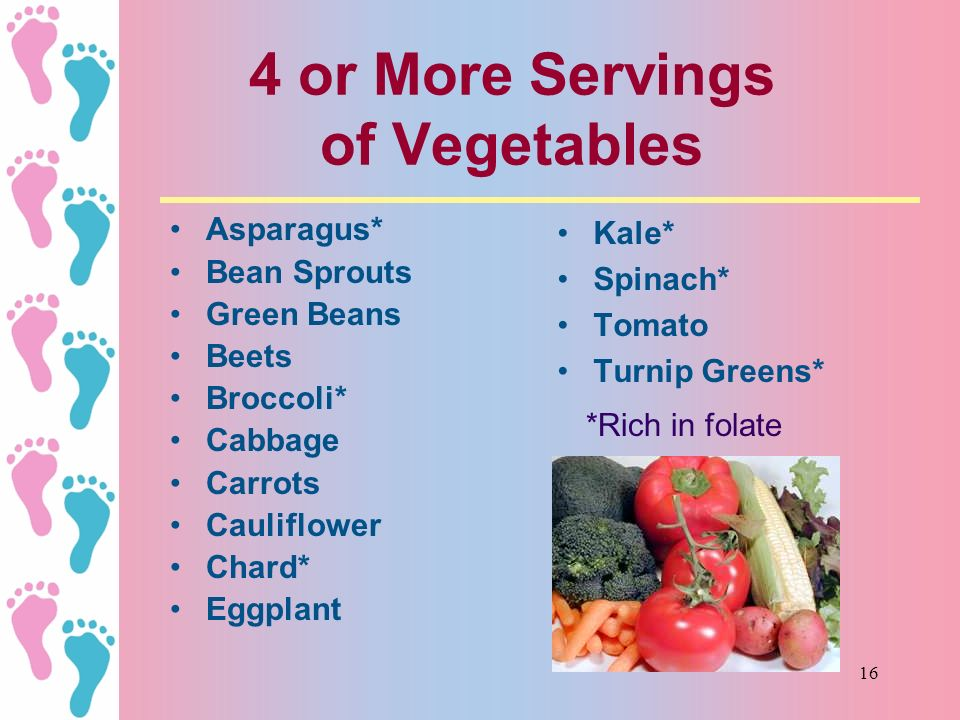 4 or More Servings of Vegetables