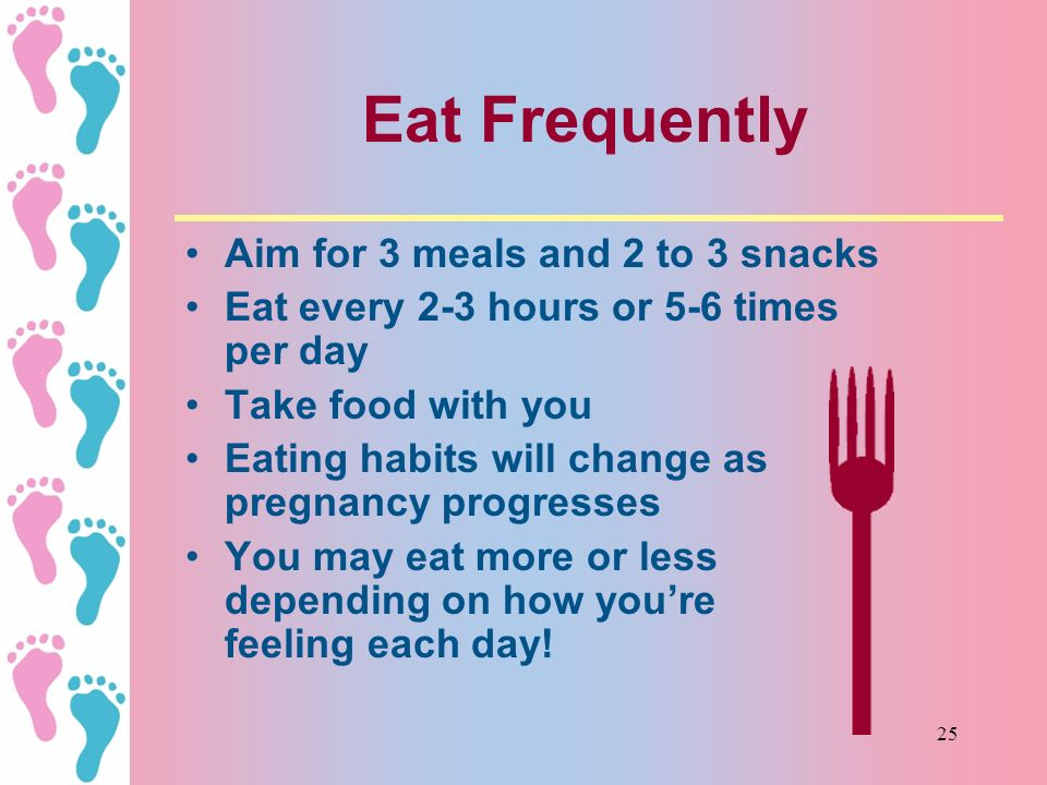 Eat Frequently Aim for 3 meals and 2 to 3 snacks