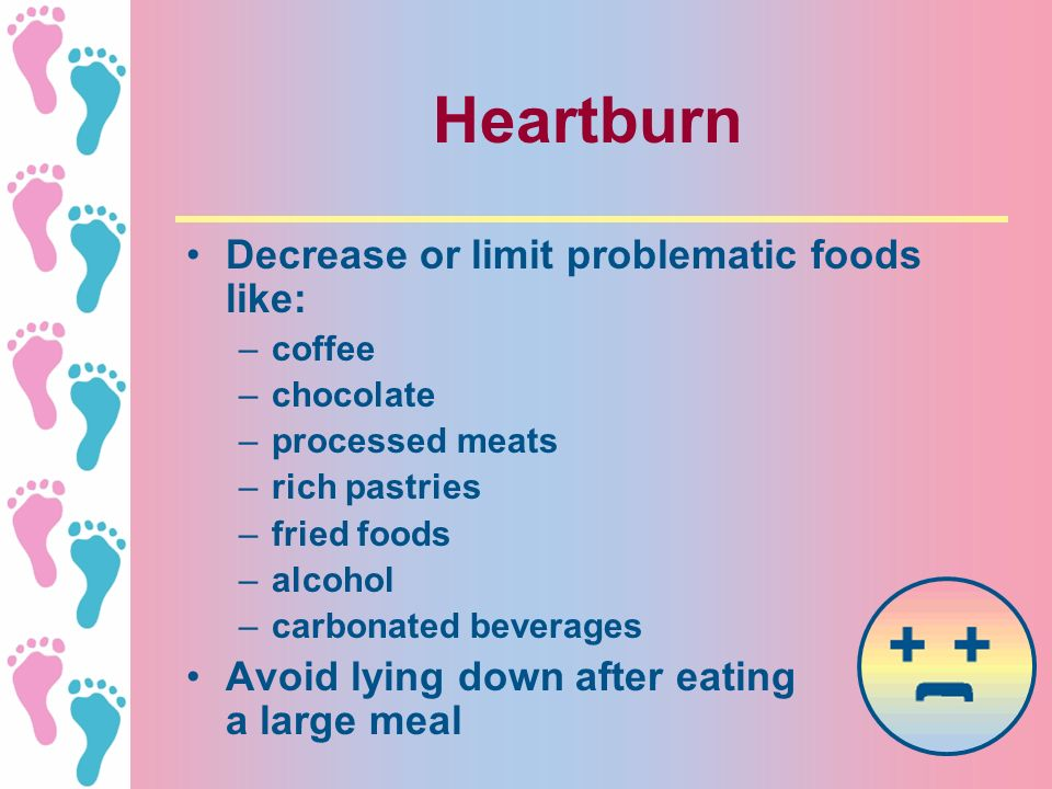 Heartburn Decrease or limit problematic foods like: