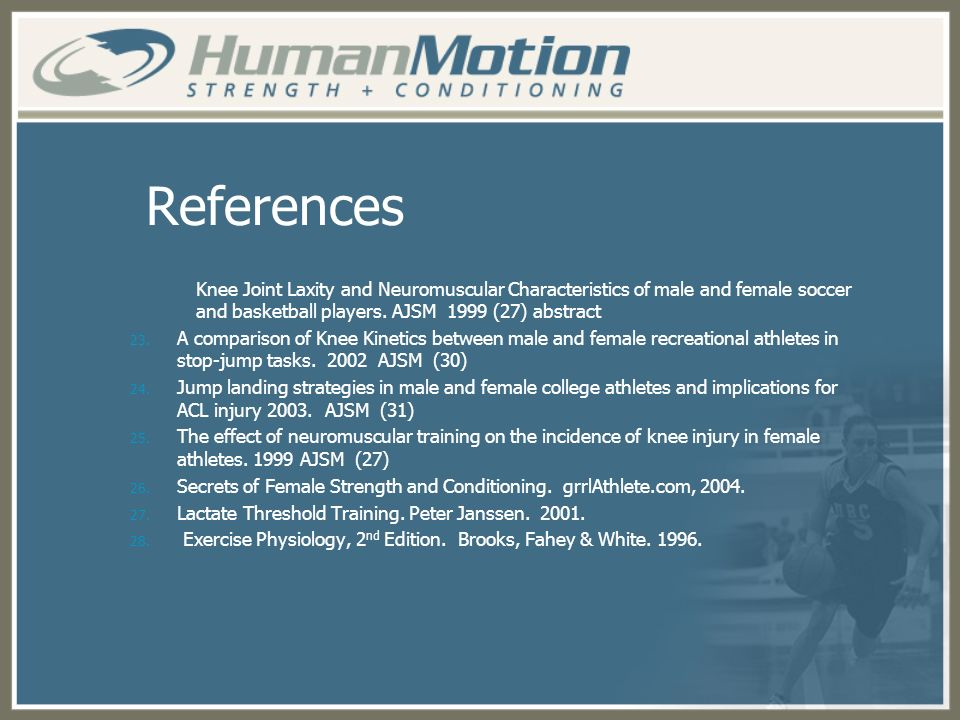 References Knee Joint Laxity and Neuromuscular Characteristics of male and female soccer and basketball players. AJSM 1999 (27) abstract.