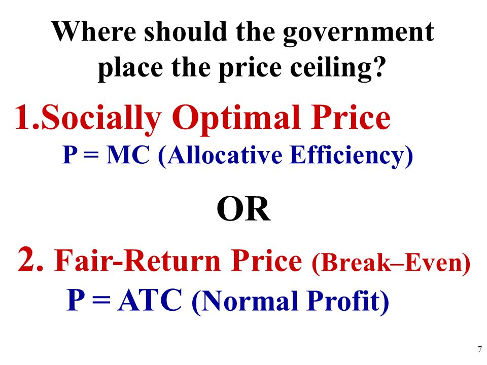 Where should the government place the price ceiling
