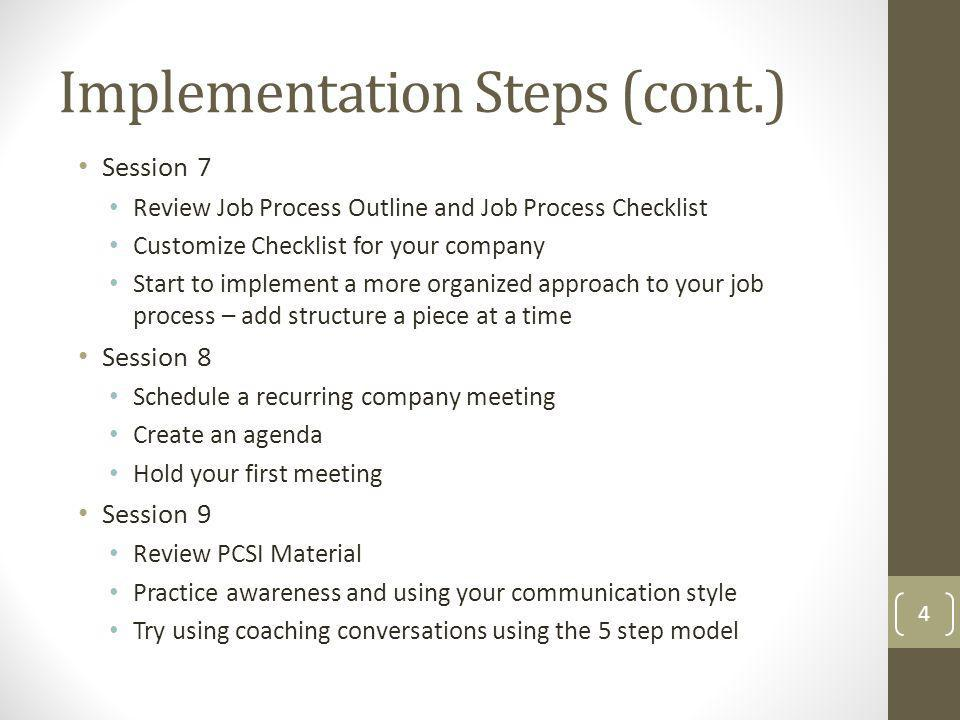 Implementation Steps (cont.)