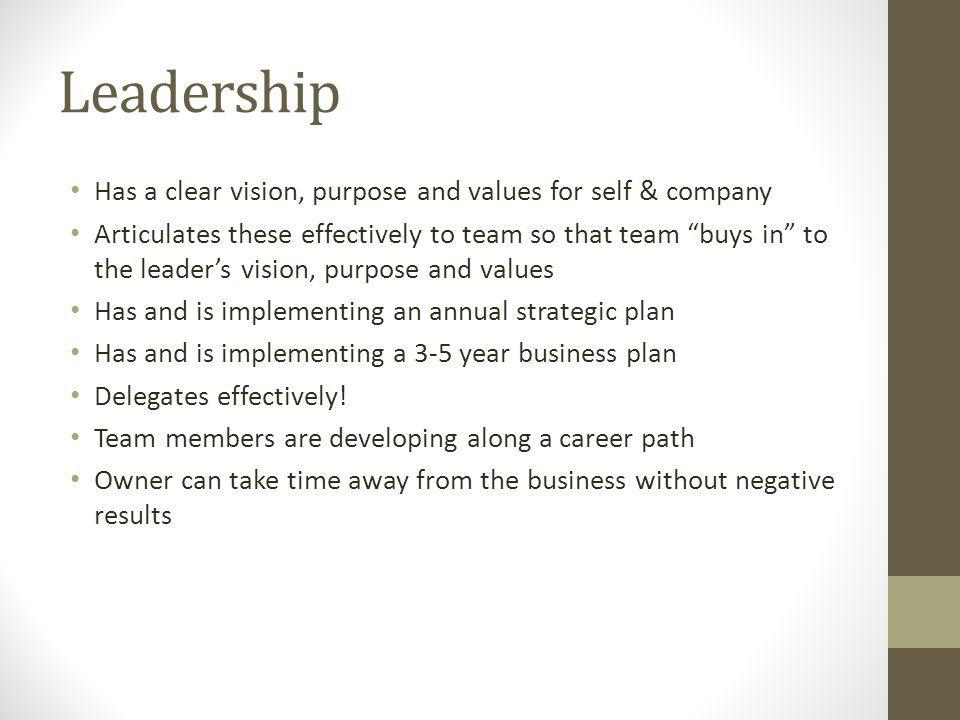 Leadership Has a clear vision, purpose and values for self & company